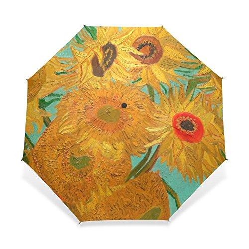 BGHYU Van Gogh Girasoles Pintura al óleo Sun Rain Paraguas Femenina Tres Plegables Completa Automática Afirman Paraguas Hombres para Pintura Amante (Color : Full Automatic)