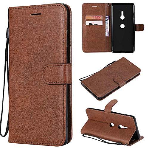 Sangrl Funda para Sony Xperia XZ3, Premium PU Cuero Cover [Soporte] [Ranuras para Tarjetas] Wallet Flip Case para Sony Xperia XZ3 - Marrón