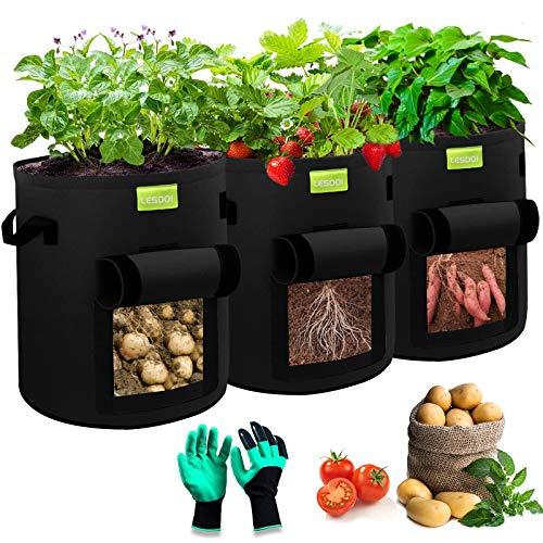 LESDOI Pflanzsack Kartoffel, 7 Gallonen Kartoffel Pflanztopf Tomaten Pflanztaschen Balkon, pflanzbeutel kartoffelsack für Kartoffeln, Blumen, Pflanzen, Gemüse(3 PCS,Schwarz)