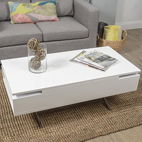 MIX High Gloss Lacquer Wood Stainless Steel Legs White Lift-Top Rectangular Coffee Table with Hidden...