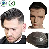 Toupee for men Hair pieces for men N.L.W. European virgin human hair replacement system for men, 10' x 8' human hair toupee men hair piece.#1B Off black