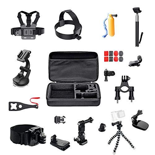 ParaPace Kit de accesorios de cámara de acción 16 en 1 para GoPro Hero 7/6/5s/5/4s/4/3+ Hero Session Accesorios Black Fusion DJI OSMO Action Yi AKASO SJ4000/SJ5000/SJ6000 DBPOWER Rollei Campark Apeman