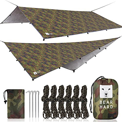 Bearhard Waterproof Camping Tarp, Lightweight Hammock Rain Fly, UV Protection and PU 3000mm Waterproof Backpacking Tarp, 10x12ft Large Tent Footprint or Shelter Kit for Hiking and Outdoor Adventure