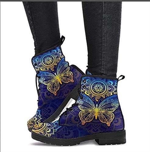 Botines Casuales para Mujer, Botines clásicos para Mujer, Botas de Herramientas de Moda británica con Calavera (Color : Blue, Size : 39)