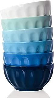 Sweejar Ceramic Fluted Bowl Set, 26 oz for Cereal, Salad, Pasta, Soup, Dishwasher Microwave Safe - set of 6