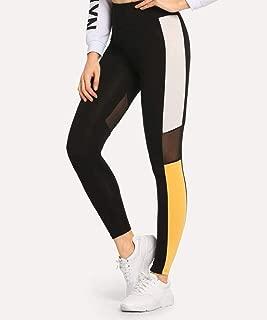 Mesh Contrast Color Block Leggings