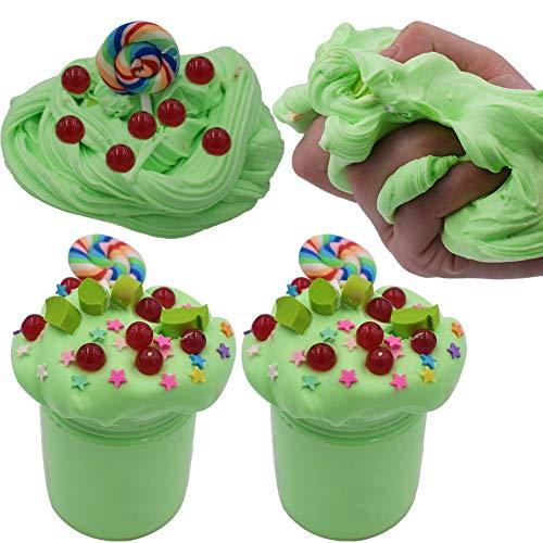 SWZY Cotton Candy Slime Green Fluffy Cloud Slime Supplies Juguete para aliviar el estrés Juguete perfumado de Lodo de Masilla DIY para niñas y niños 8 OZ. (120ML 2Pack)