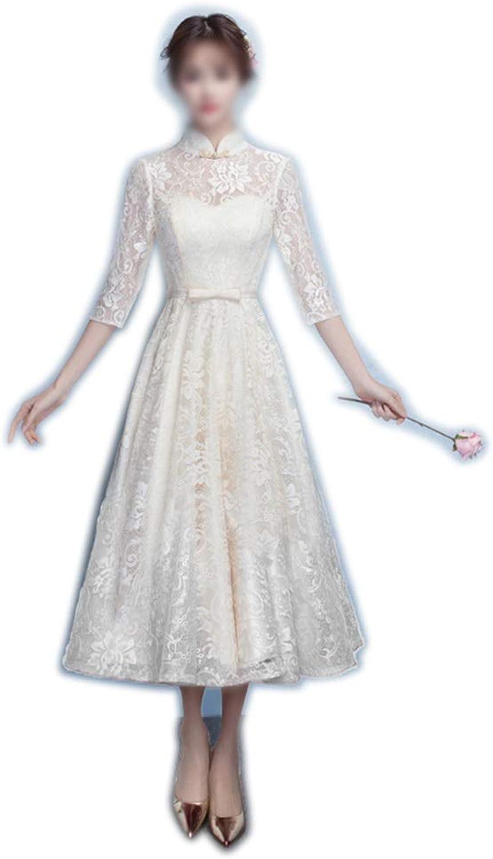 Sylviaan YY6 Longsleeved Slim Round Neck Elegant Lace Evening Dress, Bridal Gown for Women