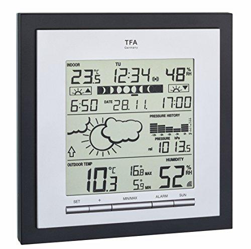 TFA Dostmann Linea Plus Funk-Wetterstation, Wettervorhersage, Mondphasen, Außentemperatur, Luftfeuchtigkeit