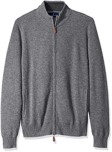 Amazon Brand - BUTTONED DOWN Men's 100% Premium Cashmere Full-Zip Sweater, Grey, Large