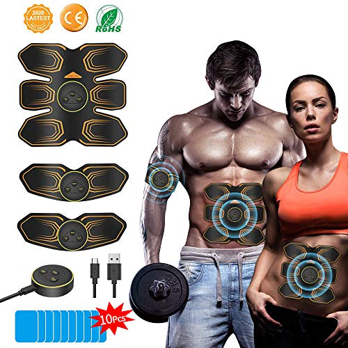 ANLAN Electroestimulador Muscular Abdominales, EMS Estimulador Muscular para Abdomen Brazo Piernas Entrenador Muscular con USB Recargable, 6 Modos y 10 Niveles de Intensidad