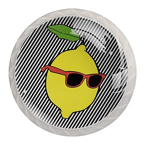 KAMEARI Juego de 4 pomos redondos para gabinete con líneas de gafas de sol