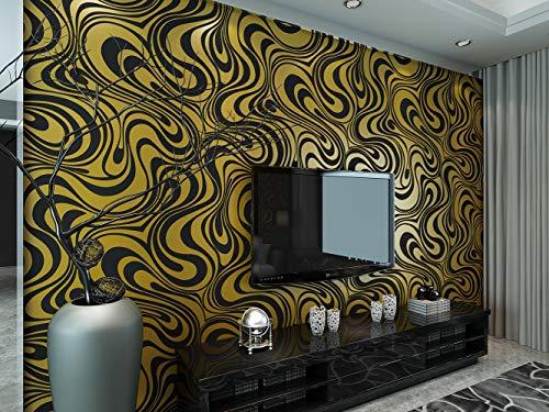 KeTian Moderne Wandtapete abstrakte 3D-Kurven, Vlies-Beflockungs-Streifen, für Wohnzimmer und Schlafzimmer, Tapetenrolle Schwarz/goldfarben, 0.7m (2.29' W) x8.4m(27.56' L)=5.88m2 (63.11sq.ft)