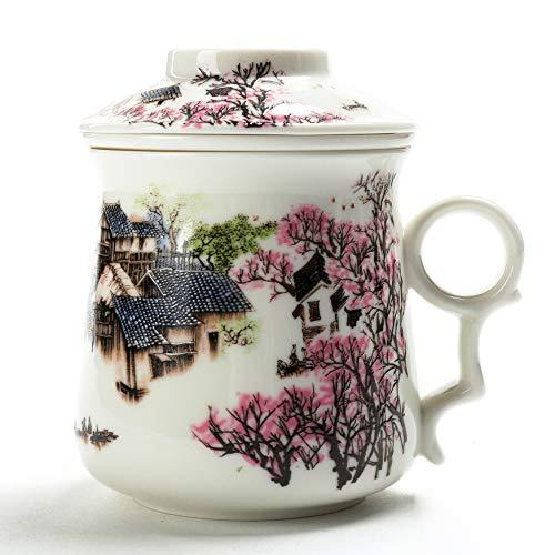 TEANAGOO EM01-1 Chinesische Tee Tasse (400 ml) mit Sieb Infuser und Deckel und Untertasse. 3 Stück Set Japan Keramik Große weiße steilere Diffusor-System Filter Steepe Frauen Mom Geschenk rot