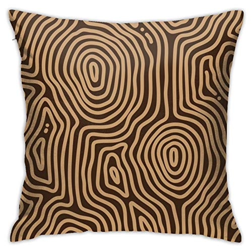WAZHIJIA Curved Wood Wheel Pillow Covers Decorative Square Pillowcase Soft Solid Cushion Case for Sofa Bedroom Car 18 X 18 Inch