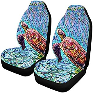 InterestPrint Sea Turtle Ocean Front Car Seat Covers Set of 2, Car Front Seat Cushion Fit Car, Truck, SUV or Van