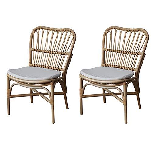 XLSQW Silla de Respaldo de 2 PCS, sillón de Mimbre de ratán Sillón de Mimbre Retro Muebles de Patio Taburetes de bambú con cojín Suave, para el Taller de Salones Inicio Oficina