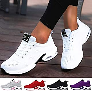2019 Women Lightweight Sneakers Running Shoes Tennis Indoor Outdoor Sports Shoes Breathable(Black,5)