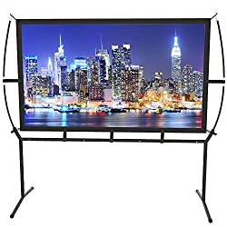 """Easy to Set Up: Designed with ease of use in mind, this projector screen with stand 100"""" Is ready for quickly set-up in few minutes. Frontal or Rear projection: Made with natural Polyester fabric, The Projection Screen are Transparency and double-sid..."""