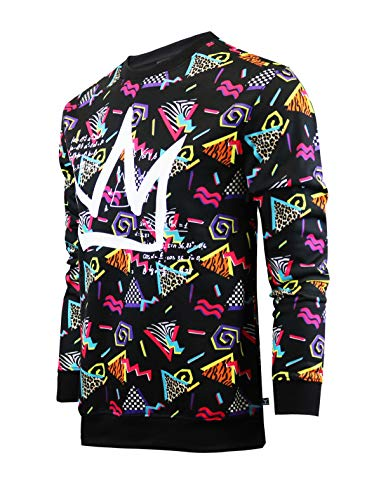 SCREENSHOT-F11963 Mens Urban Hip Hop Premium Fleece - Pullover Activewear 80's Retro Street Fashion Crew Neack Sweatshirt-Black/Pop-XLarge