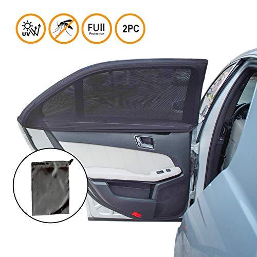 ILUXUS® 2nd Generation Universal Premium Qualität Baby-Sonnenblende für das Autoseitenfenster - einlagiges Design -maximale Sicht - passt auf die meisten Autos - 2 Stück