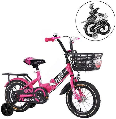 WLD Kinderen Fiets, Kinderen Fiets Baby Kinderwagen Inklapbare Kinderen Fiets Flitswiel 2-3-6-7-9 Jaar Oude Fiets Zachte Stoel Kan brengen Mensen 14 inch roze