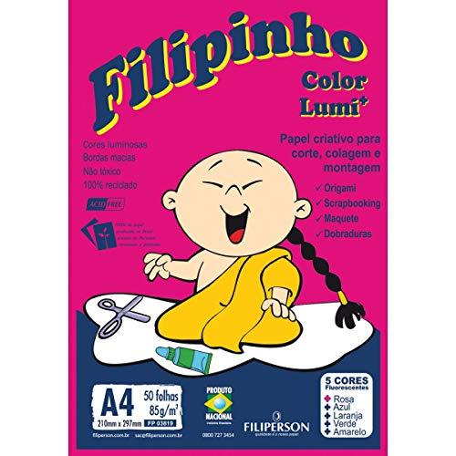 Bloco Criativo Filipinho Lumi, A4, 85 grs, 05 Cores, 50 Folhas, Filiperson