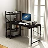 Tower Computer Desk with 4 Tier Storage Shelves - 47.6'' Multi Level Writing Study Table with Bookshelves Modern Steel Frame Wood Desk Compact for Small Spaces Home Office Workstation Black