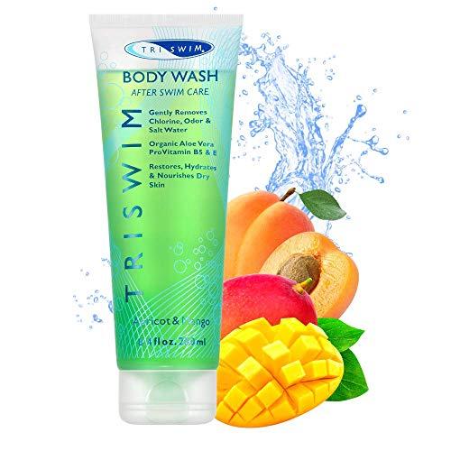 TRISWIM Gel De Ducha Hidratante Eliminador de Cloro para Nadadores Albaricoque Mango (250ml)