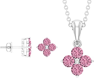 Rosec Jewels - 2.8 CT Pink Tourmaline Pendant Set, Clover Pendant and Earrings Set (AAA Quality)