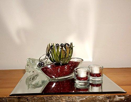 Tischgesteck Tischdekoration Nr. 5 Glasschale mit Sukkulente bordeaux Kies