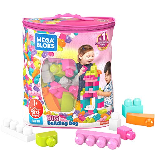 Mega Bloks First Builders Big Building Bag with Big Building Blocks, Building Toys for Toddlers (80 Pieces) - Pink Bag