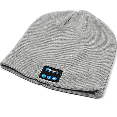 Bluetooth-Mütze, Unisex, kabellos, V5.0, Strickmütze, Kopfhörer mit Mikrofon und integrierten Stereo-Lautsprechern, Geschenk für Männer und Frauen, grau