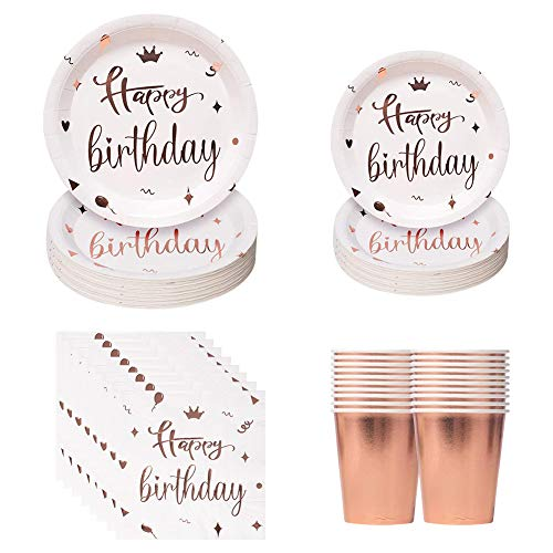 50Pcs Rose Gold Party Tableware Dinnerware Paper Plates Napkins Cups Disposable Dinner Dessert Plates for Birthday Party Suppplies,Weddings,Anniversary, Bronzing Rose Gold(10 Guest)