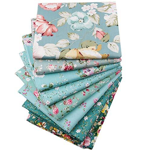 Green Floral Fat Quarters Fabric Bundles,Precut Quilt Sewing Quilting Fabric,18'x22',(Green Floral)