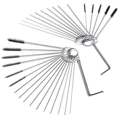 DESIN Carburetor Carbon Dirt Jet Cleaner Tool Kit 18 Cleaning Needles with 12 Brush and 2 Throttle Wrench