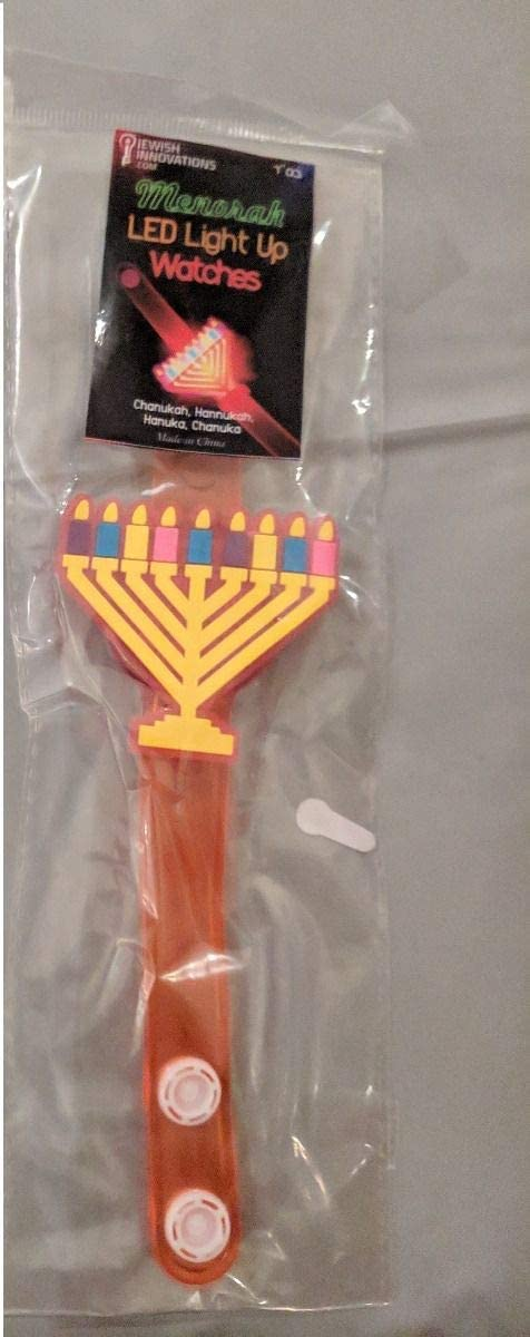 Ideal for Holiday and Bar and Bat Mitzvah Party Favor for Kids and Adults Jewish Innovations Hanukkah LED Wristband Glow in The Dark 4 Pack Light Up and Flashing Dreidel and Menorah Shape