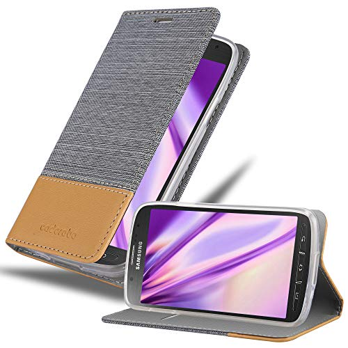 Cadorabo Book Case Compatible with Samsung Galaxy S4 Active in Light Grey Brown - with Magnetic Closure, Stand Function and Card Slot - Wallet Etui Cover Pouch PU Leather Flip