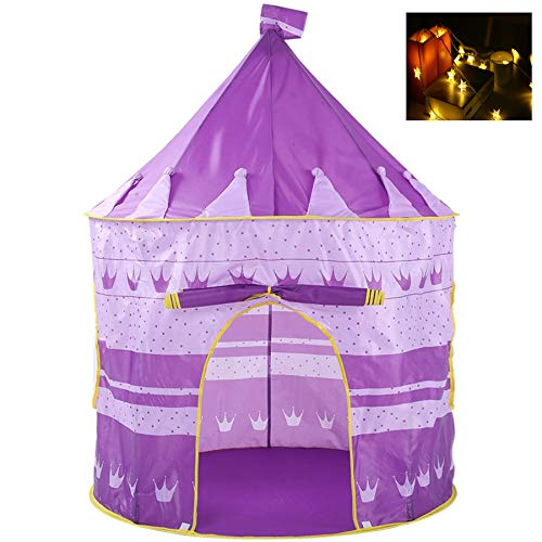 Georgie Porgy Kinder Faltbares Spielhaus Portable Zelt Schloss Indoor Outdoor Spielzeug Garten Lila Jurte Zelt Kostenlos für LED-Licht
