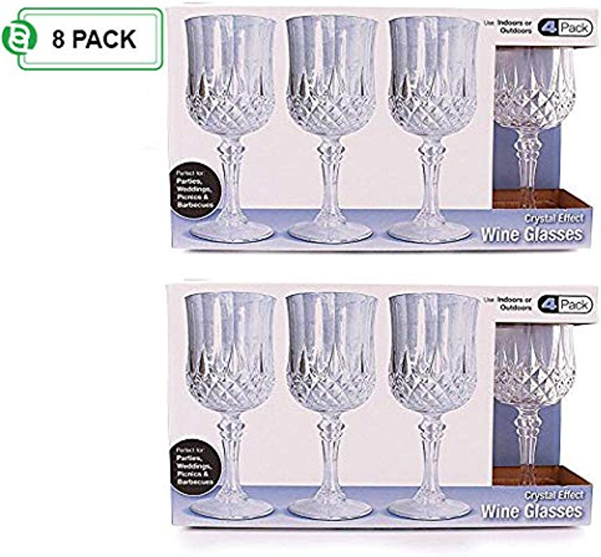 Party Bargains Plastic Wine Glasses Elegant Hard Plastic Disposable Wine Glass Ideal For Parties And Wedding To Serve Champagne Wine Pack Of 8