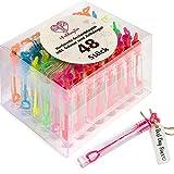 WeddingTree 48 Pompas de Jabon Boda Colorido - Pomperos Boda - con Mango en Forma de Corazón para Bodas, Bautizos, Cumpleaños, San Valentín u Otras Celebraciones