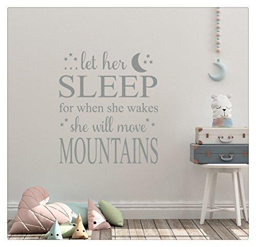 Adhesivos para pared 3D para dormitorio o pared, 26 x 24 pulgadas, diseño con texto 'Let Her Sleep For When She Wakes She Will Move Mountains Moon Stars Baby Nursery Dream Child Wall Decal Sticker Art Mural Home Decor Quote'