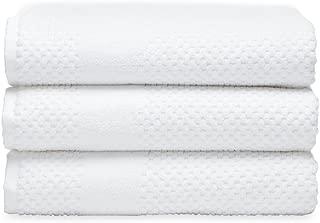 Chortex Honeycomb %100 Turkish Cotton Bath Towel, Set of 3 (White)