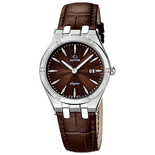Jaguar Damen Armbanduhr Analog Datum Edelstahl Lederband J674/2