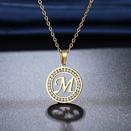 Collar de Acero Inoxidable 316L con 26 Letras AZ, Collares de Diamantes de imitación de Cristal para Mujeres, Regalos de Boda para el Día de San Valentín