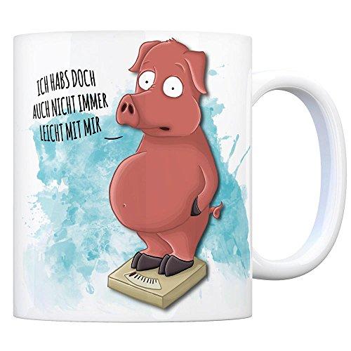 trendaffe - Kaffeebecher mit Schwein Motiv und Spruch: Ich habs doch auch Nicht Immer leicht mit Mir