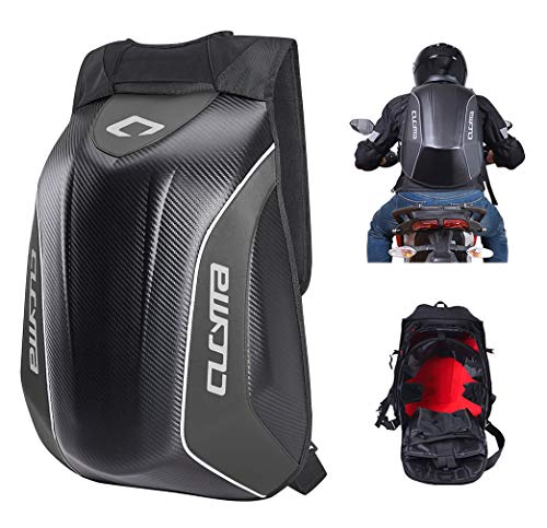 CUCYMA Waterproof Motorcycle Backpack With Reflective Strip Helmet Storage Stealth Holder Carbon Fiber Hard Shell Large Capacity Motocross Racing Riding Turtle Bag Expanded Capacity thickened version