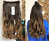20 Inches Full Head Ombre Dip Dyed Loose Curls Wavy Curly Clip-in Hair Extensions 6pcs Pack (Chocolate brown to dark blonde)