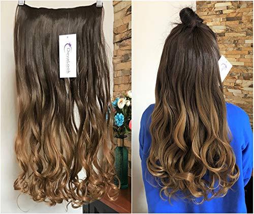 Wavy One Piece clip in Hair extensions 5clip non 100% capelli umani