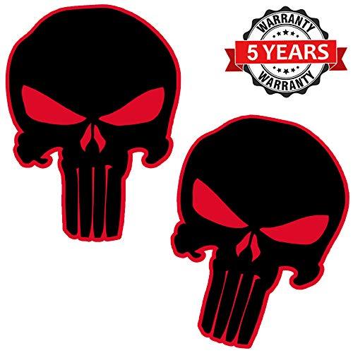 Biomar Labs® 2 Stück Vinyl Punisher Schwarz Aufkleber Autoaufkleber Stickers Auto Moto Motorrad Fahrrad Helm Fenster Tuning B 19
